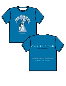 """2006: royal blue with light blue, white and black print. FRONT: White Cane Day 2006 in an arc above the Austin skyline with the Capitol in the center moving forward from the Capitol is a sidewalk with an animated dog guide with a harness on and its tail wagging in the air. Next to the dog guide is an animated long white cane with one hand on its hip and the other hand waiving and a smile on its face. Below is Austin, Texas. BACK: from the top of the shirt moving down in Braille is HOW IS MY DRIVING? (white).  Below the Braille, the phrase will be written in print (Black).  Moving down the shirt will be a list of sponsors and at the very bottom of the t-shirt will be in Braille """"Ready to Work, Ready to Contribute"""""""