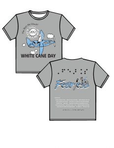 """2012: Sports grey background with white, light blue and black ink colors. FRONT:  On the top left in an arc is the phrase, """"The Sky's the Limit!"""" in black lettering. Below the lettering is a white sun outlined in black with white sun rays and black highlights. In the center of the sun is the year 2012 in black. In the center of the shirt is a floppy-eared, white dog guide sitting in the open cockpit of a light-blue, single-engine, propeller airplane. On the side of the plane are the initials WCD in white; outlined in black, and two crossed canes in black and white. Below the airplane is the signature of the artist, Matthew Bennett, and surrounding the airplane are three, puffy, white clouds outlined in black.  Below the airplane in large, black, block letters and outlined in white is the phrase, WHITE CANE DAY. BACK: At the top in puffy black, contracted Braille is the word, Fearless. Below the Braille in a scratchy print font is the word, Fearless, in blue letters outlined in black with white shadowing. A white cane with a black handle is replacing the """"L"""" in Fearless, and a grey dog guide outlined in black with a blue harness is standing on top of the """"ss"""".  Below the design is a list of Sponsors; then the phrase in contracted Braille """"Ready to Work Ready to Contribute"""""""