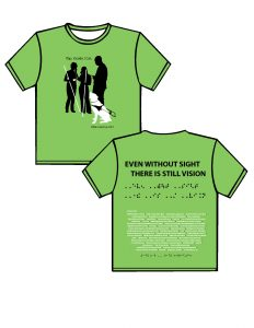 """2013: light lime green, black and white ink.  FRONT: moving downward in black lettering are the words, """"iTap. iGuide. iCan."""" Below in black are the silhouettes of two women sharing ear buds connected to an iPhone. A man stops to see what is going on, as his guide dog curiously looks up. The background is the color of the t-shirt and the person silhouettes are in black as well as the dog's harness. The cane, iPhone, ear buds and the guide dog are in white.  BACK: moving downward in black block lettering EVEN WITHOUT SIGHT THERE IS STILL VISION, the same phrase will be in black puffed Braille, below in white with black dot spacers is the list of sponsors, at the bottom center of the shirt in black is the phrase Ready to Work, Ready to Contribute written in Braille"""