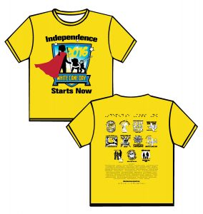 """2016: FRONT: canary yellow shirt with red, black blue and white ink. In black bold writing is the phrase """"Independence Starts Now"""" above and below a shield outlined in black fading from light blue to white.  In the shield is the silhouette of a girl with ponytail facing away holding a cane.  She is wearing a flowing red cape that has extend out from the borders of the shield.  Looking up at the girl is a silhouette of a guide dog wearing a white harness with the handle extended slightly off its back.  At the bottom crossing just above the base of the shield is a blue banner reading WHITE CANE DAY in yellow.  BACK: in black puffed Braille the phrase """"Independence Starts Now"""" below are the images from the front of the shirts in 3 lines.  The first line has shirts from 2005-2008, second line 2009-2012, third line 2013-2015"""